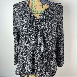 SEED Size 8 Frilled Faux Crossover Black Blouse